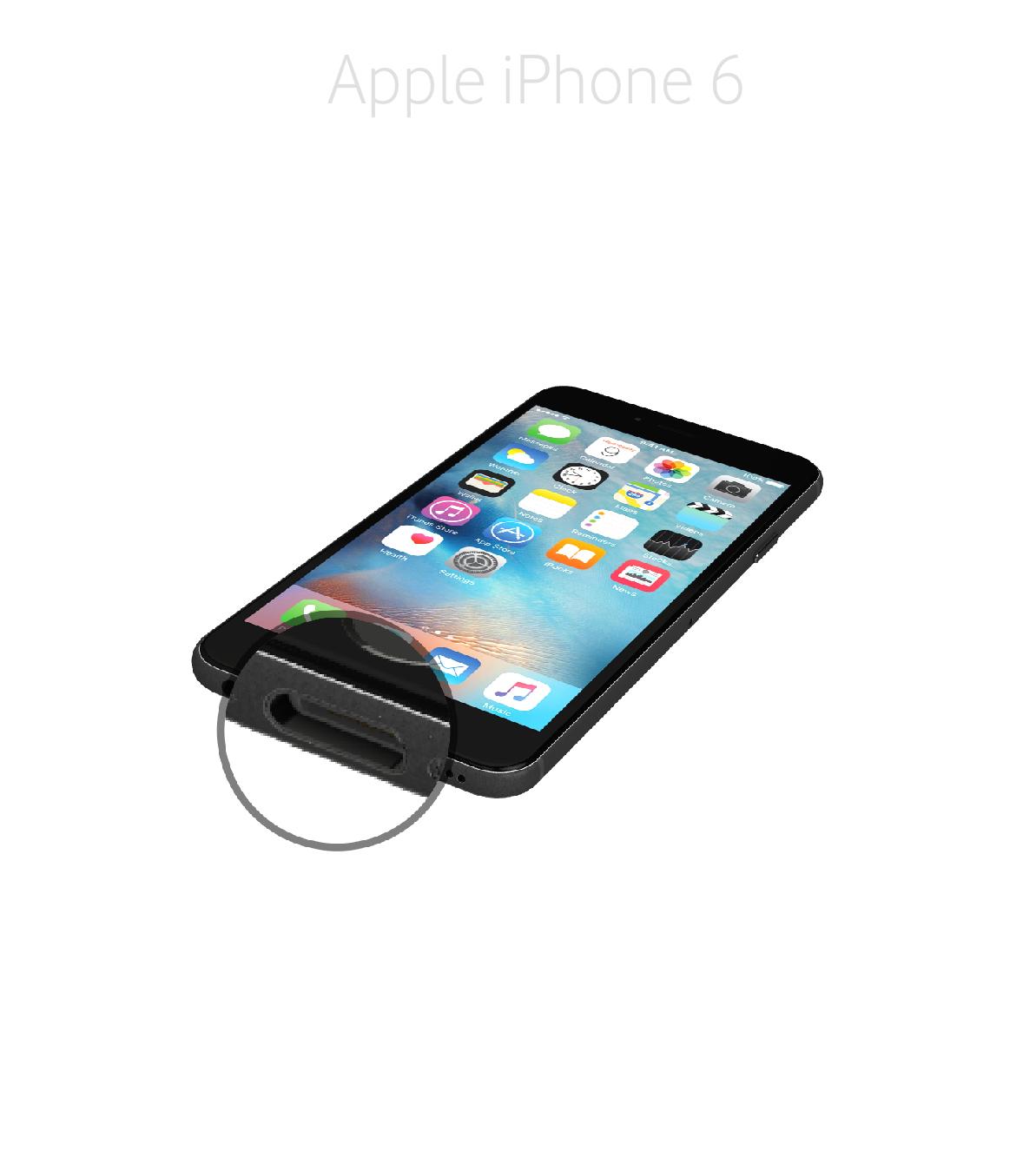 Laga lightningkontakt iPhone 6
