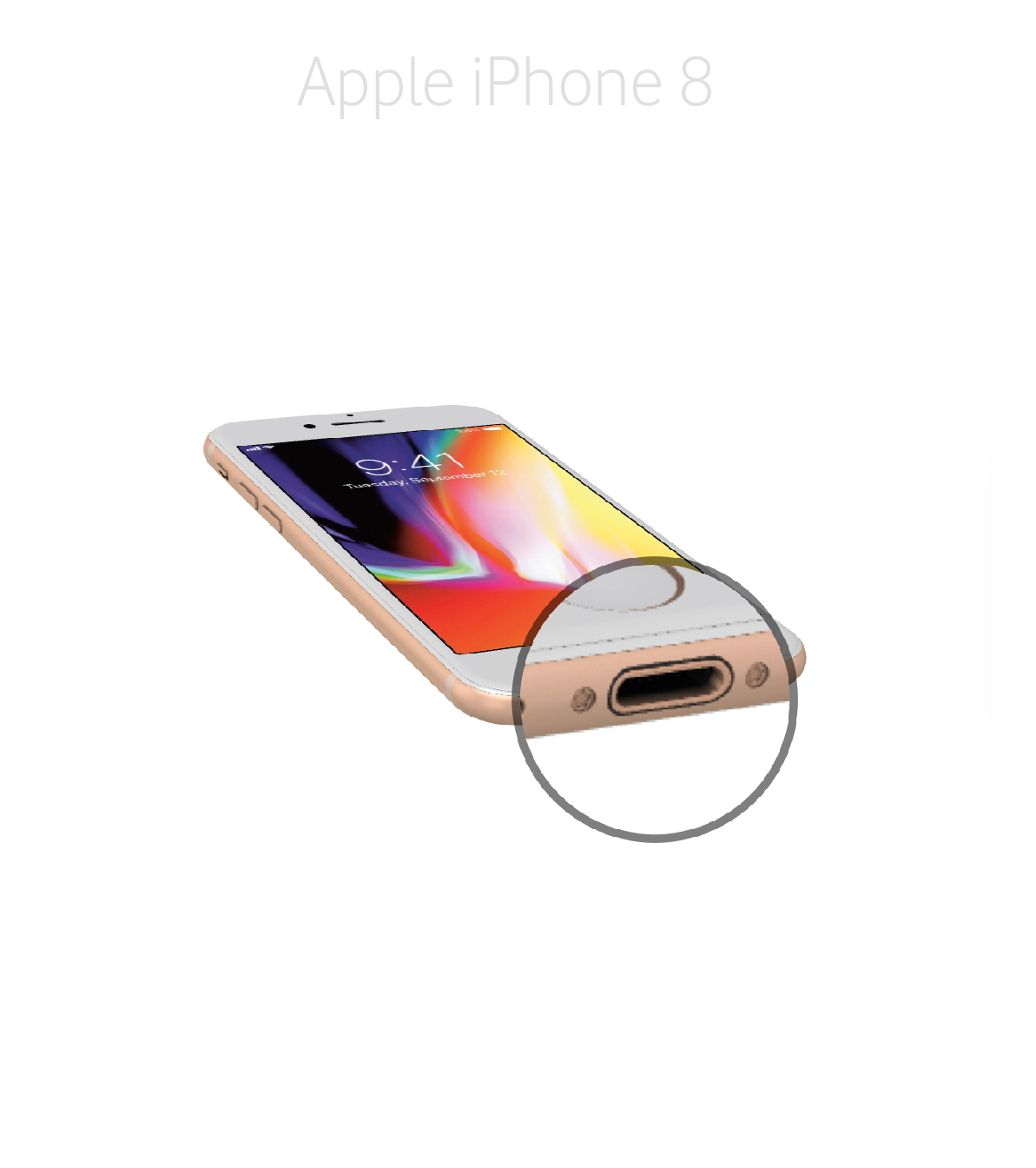 Laga lightningkontakt iPhone 8